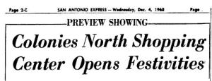 Colonies North Grand Opening announcement on December 4, 1968